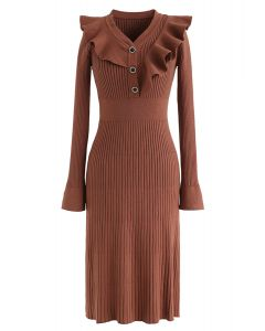Ruffle Trim V-Neck Ribbed Knit Dress in Caramel