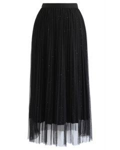 Shimmer Lining Mesh Tulle Pleated Skirt in Black