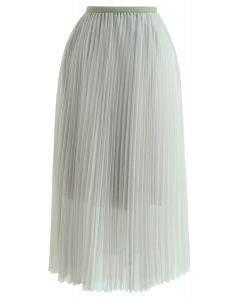 Double-Layered Mesh Tulle Pleated Skirt in Mint