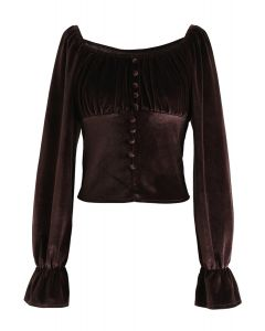 Square Neck Buttoned Velvet Crop Top in Brown