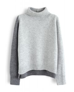 Unique Two-Tone Cowl Neck Knit Sweater in Grey