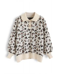 Leopard Pointed Collar Puff Sleeves Knit Sweater