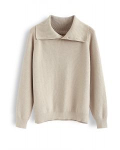 Buttoned Cowl Neck Knit Sweater in Sand