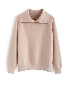 Buttoned Cowl Neck Knit Sweater in Pink