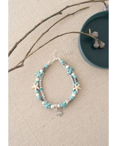 Layered Blue Starfish Beads Bracelet