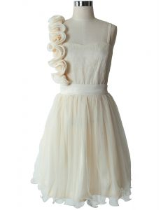 3D Flower Fluted Hemline Tulle Dress in Ivory