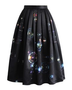 Bubbles Shining in Dark Midi Skirt