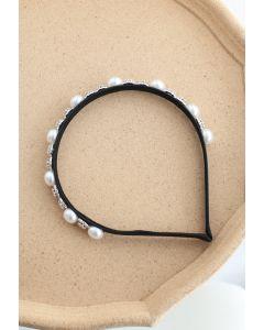 Crystal Pearl Black Headband