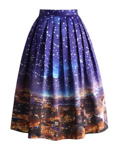 Holy Snowy Night Printed Midi Skirt