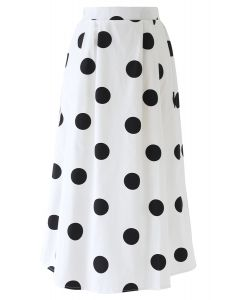 Contrast Polka Dots Print Midi Skirt in White