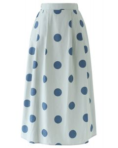 Contrast Polka Dots Print Midi Skirt in Pea Green