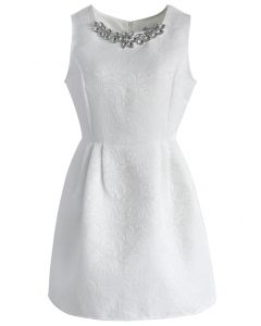 Crystal Clear Jacquard Dress in White