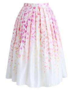Falling in Love with Petals Printed Midi Skirt