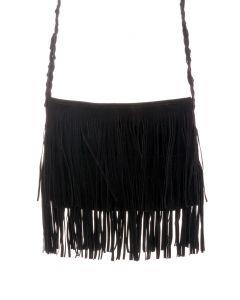 Black Fringe Knit Strap Shoulder Bag