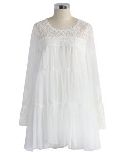 The Fairest Mesh Tulle White Dress