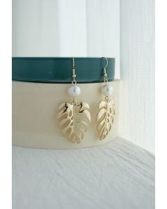 Tropical Leaf and Pearl Drop Earrings