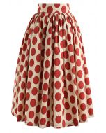 Vintage Red Polka Dot Midi Skirt
