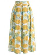Pineapple Print A-Line Midi Skirt