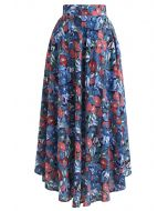 Flower Painting Printed Asymmetric Skirt