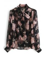 Semi-Sheer Floral Print Bow Neck Chiffon Top