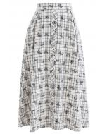 Butterfly Print Plaid Button Down Midi Skirt