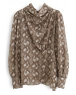 Snake Print Drape Semi-Sheer Top in Caramel