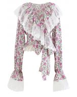 Mesh Spliced Ditsy Floral Crop Wrap Top in Pink