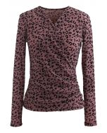 Velvet Leopard Dot Wrapped Top
