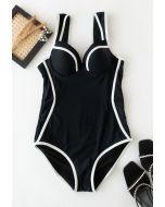 Bustier Contrast Line One-Piece Swimsuit