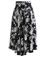 Brooch Detail Sketch Floral Printed Midi Skirt in Black