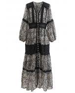 Black Floral Jacquard Crochet Trim Sheer Maxi Dress