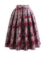 Red Rose Jacquard Pleated Midi Skirt in Dusty Pink
