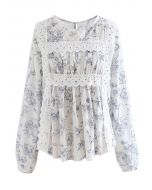 Scenery Printed Embroidered Smock Top