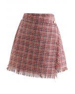 Tasseled Houndstooth Tweed Mini Flap Skirt in Red
