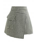 Houndstooth Tweed Asymmetric Mini Skirt in Green