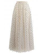 My Secret Garden Tulle Maxi Skirt in Cream Dots