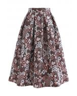Blossom Cluster Embossed Pleated Midi Skirt in Red
