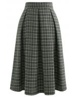 Wool-Blend Pleated Plaid Skirt in Dark Green