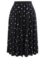 Dots Print Corduroy Velvet skirt in Black