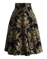 Golden Bouquet Jacquard Midi Skirt