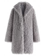 Feeling of Warmth Faux Fur Longline Coat in Grey