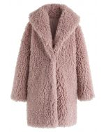 Feeling of Warmth Faux Fur Longline Coat in Mauve