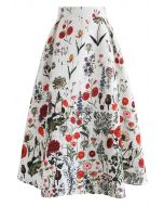 Multi Floral Print Embossed Midi Skirt
