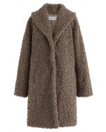 Feeling of Warmth Faux Fur Longline Coat in Brown