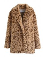 Collared Leopard Faux Fur Coat in Tan